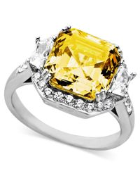 Arabella | Metallic Yellow And White Swarovski Zirconia Cushion Cut Ring (10-1/3 Ct. T.w.) | Lyst