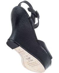 Alice + Olivia | Black Jenna Snake Embossed Leather Wedge Sandal | Lyst