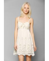 Urban Outfitters - White Pins and Needles Crochet Laceup Bodice Dress - Lyst