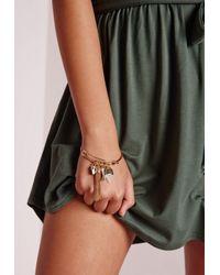 Missguided   Metallic Tassel Charm Bracelet Gold   Lyst