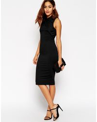 ASOS | Black Midi Bodycon Dress With Twist Neck Detail | Lyst