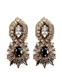 Aerin - X Erickson Beamon Crystal And Jet Black Stone Pendant Earrings - Lyst