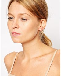 ASOS - Metallic Gold Plated Sterling Silver Mini Hoop Earrings With Faux Pearl - Lyst