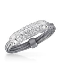 Alor | Metallic Pavé Diamond Bar Id Ring | Lyst