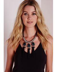 Missguided | Black Fringed Statement Necklace | Lyst