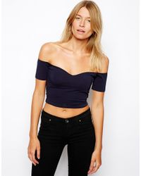 ASOS - Blue Crop Top With Bardot Sweetheart Neckline - Lyst
