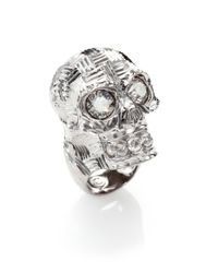 Alexander McQueen | Metallic Crystal Sliced Skull Ring for Men | Lyst