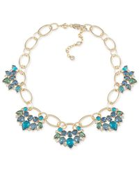 Carolee | Gold-tone Blue Green Crystal Open Link Necklace | Lyst