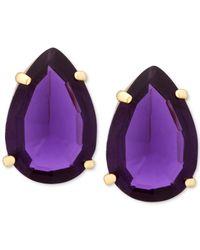 T Tahari | Gold-tone Purple Crystal Teardrop Stud Earrings | Lyst