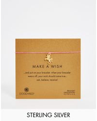 Dogeared - Pink Gold Plated Make A Wish Unicorn Friendship Bracelet - Lyst