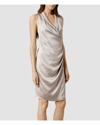 AllSaints - Gray Arina Dress - Lyst