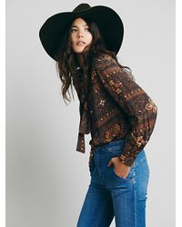 Free People | Brown Novella Royale Womens The Around My Poppies Mini Dress | Lyst