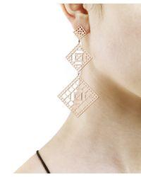 Arme De L'Amour | Metallic Square Long Pattern Earrings | Lyst