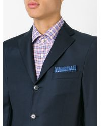 Kiton | Blue Check Print Pocket Square for Men | Lyst