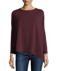 Neiman Marcus - Purple French Terry Asymmetric Top - Lyst