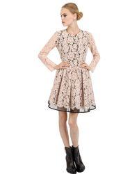 MSGM - Pink Cotton Lace & Crinoline Dress - Lyst