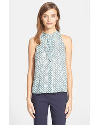 Tory Burch | Green Ruffle Front Silk Top | Lyst