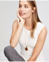 Ann Taylor | Brown Hexagon Pendant Necklace | Lyst