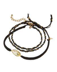 Tai - Black Crystal Station & Braided Cord Set Of 2 Bracelets - Lyst