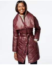 Kenneth Cole | Red Belted Puffer Coat | Lyst