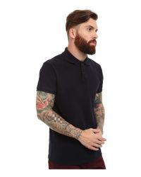 Scotch & Soda - Black Classic Garment Dyed Pique Polo for Men - Lyst