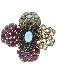 Iradj Moini | Red Peridot, Flourite And Labradorite Flower Brooch | Lyst