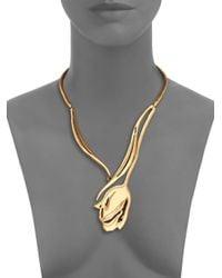 Oscar de la Renta - Metallic Delicate Tulip Necklace - Lyst