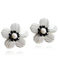Aeravida | Sweet Daisy White Zebra Painted Mother Of Pearl Clip On Earrings | Lyst