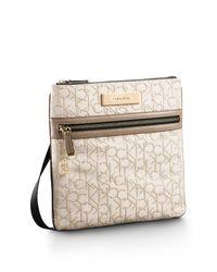 Calvin Klein - Natural White Label Logo Jacquard Lurex Flatpack - Lyst