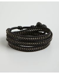 Chan Luu - Black and Silver Chain and Leather Wrap Bracelet for Men - Lyst