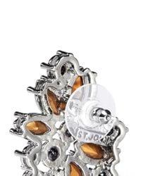 St. John - Metallic 'night Bloom' Crystal Laurel Earrings - Lyst