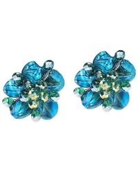 Aeravida | Green Blue Zebra Painted Mother Of Pearl Floral Clip On Earrings | Lyst