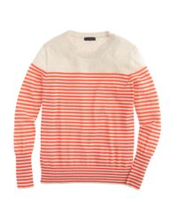 J.Crew | Orange Summerweight Cotton Sweater In Stripe | Lyst