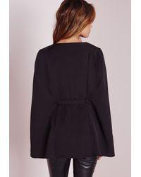 Missguided - Belted Cape Blazer Black - Lyst