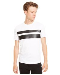 Kenneth Cole Reaction | White Faux-leather Striped T-shirt for Men | Lyst