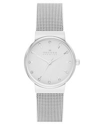 Skagen - Metallic 'ancher' Crystal Index Mesh Strap Watch - Lyst