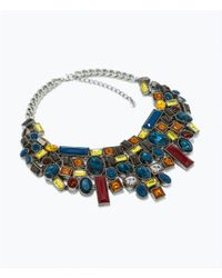 Zara | Multicolor Necklace with Geometric Rhinestones | Lyst