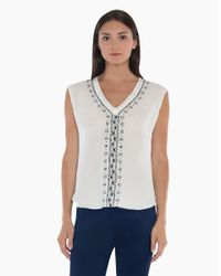 Veronica Beard - White V-neck Embroidered Top - Lyst