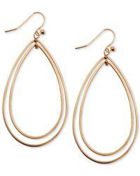 Guess | Pink Rose Gold-tone Double Teardrop Hoop Earrings | Lyst