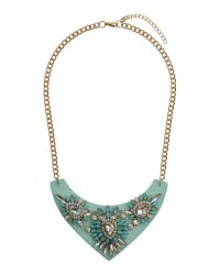 Mikey | Blue Flat V Base With Stone Flowers Necklace | Lyst