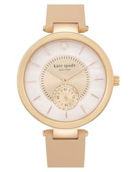 kate spade new york - Metallic 'perry' Crystal Accent Leather Strap Watch - Lyst