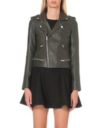 Maje | Gray Basalt Leather Jacket | Lyst