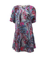 Emilio Pucci | Multicolor Flounce Hem Print Dress | Lyst