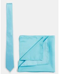 ASOS - Blue Tie And Pocket Square for Men - Lyst