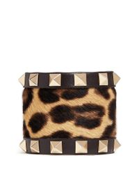 Valentino - Multicolor 'Rockstud' Leopard Print Calf Hair Wide Leather Bracelet - Lyst