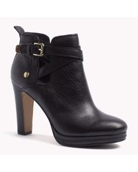 Tommy Hilfiger | Black Leather High Heel Ankle Boot | Lyst