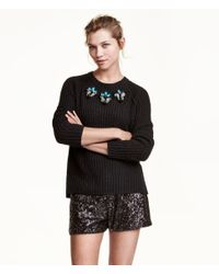 H&M Black Sequined Shorts