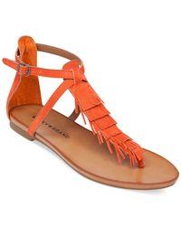 Lucky Brand | Red Women's Wekka Fringe Flat Thong Sandals | Lyst