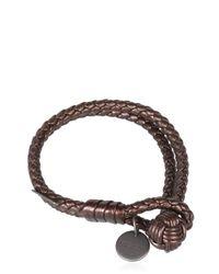 Bottega Veneta - Brown Double Intreccio Metallic Deer Bracelet - Lyst