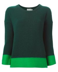 Moncler - Green Contrast Trim Sweater - Lyst